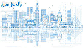 Outline Sao Paulo Skyline with Blue Buildings and Reflections. Vector Illustration. Business Travel and Tourism Concept with Modern Buildings. Image for Stock Photo