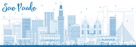 Outline Sao Paulo Skyline with Blue Buildings. Royalty Free Stock Photo