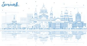 Outline Saransk Russia City Skyline with Blue Buildings and Refl Stock Photos