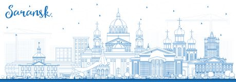 Outline Saransk Russia City Skyline with Blue Buildings. Royalty Free Stock Image