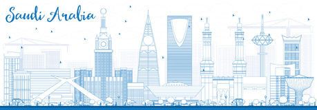 Outline Saudi Arabia Skyline with Blue Landmarks. Vector Illustration. Business Travel and Tourism Concept. Image for Presentation Banner Placard and Web Site vector illustration
