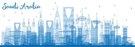Outline Saudi Arabia Skyline with Blue Landmarks. Royalty Free Stock Photography