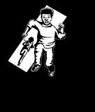 Outline of Scared Child Being Chased. Illustration of man chasing Black youth with a knife Stock Photos