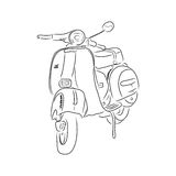 Outline of scooter, vector illustration. Outline of scooter isolated on white background. Hand-drawn sketch. Art vector illustration for your design Royalty Free Stock Images