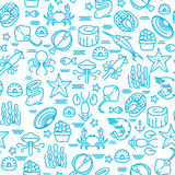 Outline seafood, sushi seamless vector pattern Stock Photo