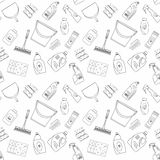 Outline seamless cleaning products and equipment background pattern. Royalty Free Stock Photo