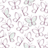 Outline seamless pattern with butterflies Stock Image