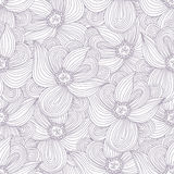 Outline seamless pattern with doodle flowers Stock Photography