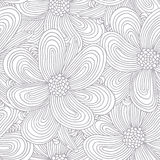 Outline seamless pattern with doodle flowers Royalty Free Stock Images