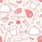 Outline seamless pattern with food elements in vector. Hand drawn illustration Royalty Free Stock Image