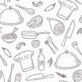 Outline seamless pattern with hand drawn food Royalty Free Stock Photos