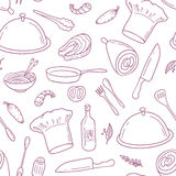 Outline seamless pattern with hand drawn food Royalty Free Stock Images