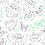Outline seamless pattern with hand drawn tea Stock Photo
