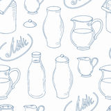 Outline seamless pattern with milk objects Stock Image