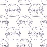Outline seamless pattern with muffins Royalty Free Stock Photo