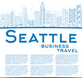 Outline Seattle City Skyline with Blue Buildings and copy space Royalty Free Stock Image