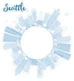 Outline Seattle City Skyline with Blue Buildings Royalty Free Stock Photo