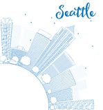 Outline Seattle City Skyline with Blue Buildings and copy space Stock Images