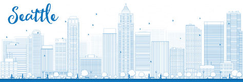 Outline Seattle City Skyline with Blue Buildings Stock Photography