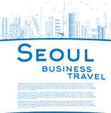 Outline Seoul skyline with blue building and copy space Royalty Free Stock Image