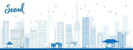 Outline Seoul skyline with blue building Royalty Free Stock Photos