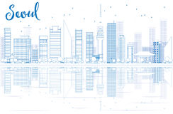 Outline Seoul skyline with Blue buildings and reflections. Vector illustration. Business travel and tourism concept with place for text. Image for presentation royalty free illustration