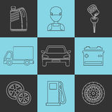 Outline set auto service icons Royalty Free Stock Image