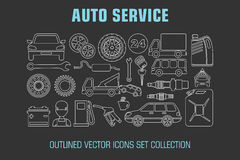 Outline set auto service icons. Vector illustration Stock Photo