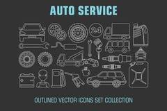 Outline set auto service icons Stock Photo