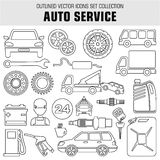Outline set autoservice icons. Royalty Free Stock Photo