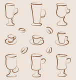 Outline set coffee and tea design elements Royalty Free Stock Photo