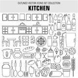Outline set cooking and food icons. Vector Royalty Free Stock Images