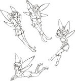 Outline set of cute fairies Stock Images