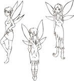 Outline set of cute fairies Stock Image