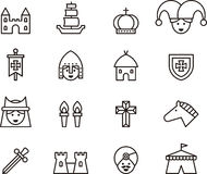Outline Set of Medieval Icons Stock Images