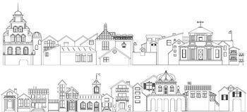 Outline set of old town streets buildings. Vector collection of contour townhouses Royalty Free Stock Photography