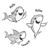 Outline set with shark in cartoon style. Collection of black and white shark cartoon characters. Hand drawn vector illustration. Ink doodle vector. Coloring book Royalty Free Stock Photography