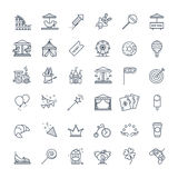 Outline set - theme amusement park icons Stock Photos