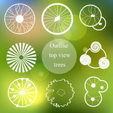 Outline set. Trees top view for landscape design Royalty Free Stock Image