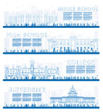 Outline Set of University, High School and College Study Banners Stock Images