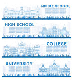 Outline Set of University, High School and College Study Banners Stock Image