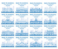 Outline Set of University, High School and College Study Banners Stock Photo