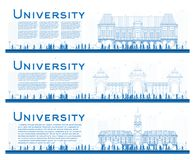 Outline Set of University Study Banners. Vector Illustration. Students Go to the Main Building of University. Banner with Copy Space Royalty Free Stock Photos