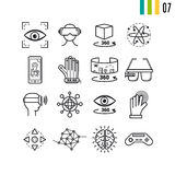Outline set of virtual reality entertainment. Vector outline set of virtual reality entertainment modern computer icons. The seventh series of symbols Royalty Free Stock Images