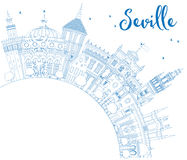 Outline Seville Skyline with Blue Buildings and Copy Space. Royalty Free Stock Image