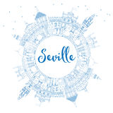 Outline Seville Skyline with Blue Buildings and Copy Space. Stock Photo