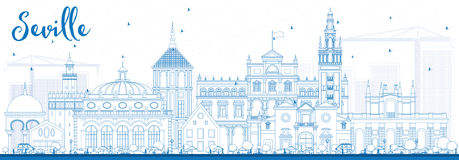 Outline Seville Skyline with Blue Buildings. Royalty Free Stock Photo