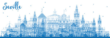 Outline Seville Skyline with Blue Buildings. Stock Photos