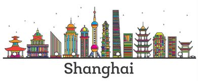 Outline Shanghai China City Skyline with Modern Buildings Isolat Royalty Free Stock Image