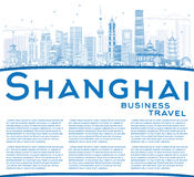 Outline Shanghai China Skyline with Blue Buildings and Copy Spac Royalty Free Stock Photos